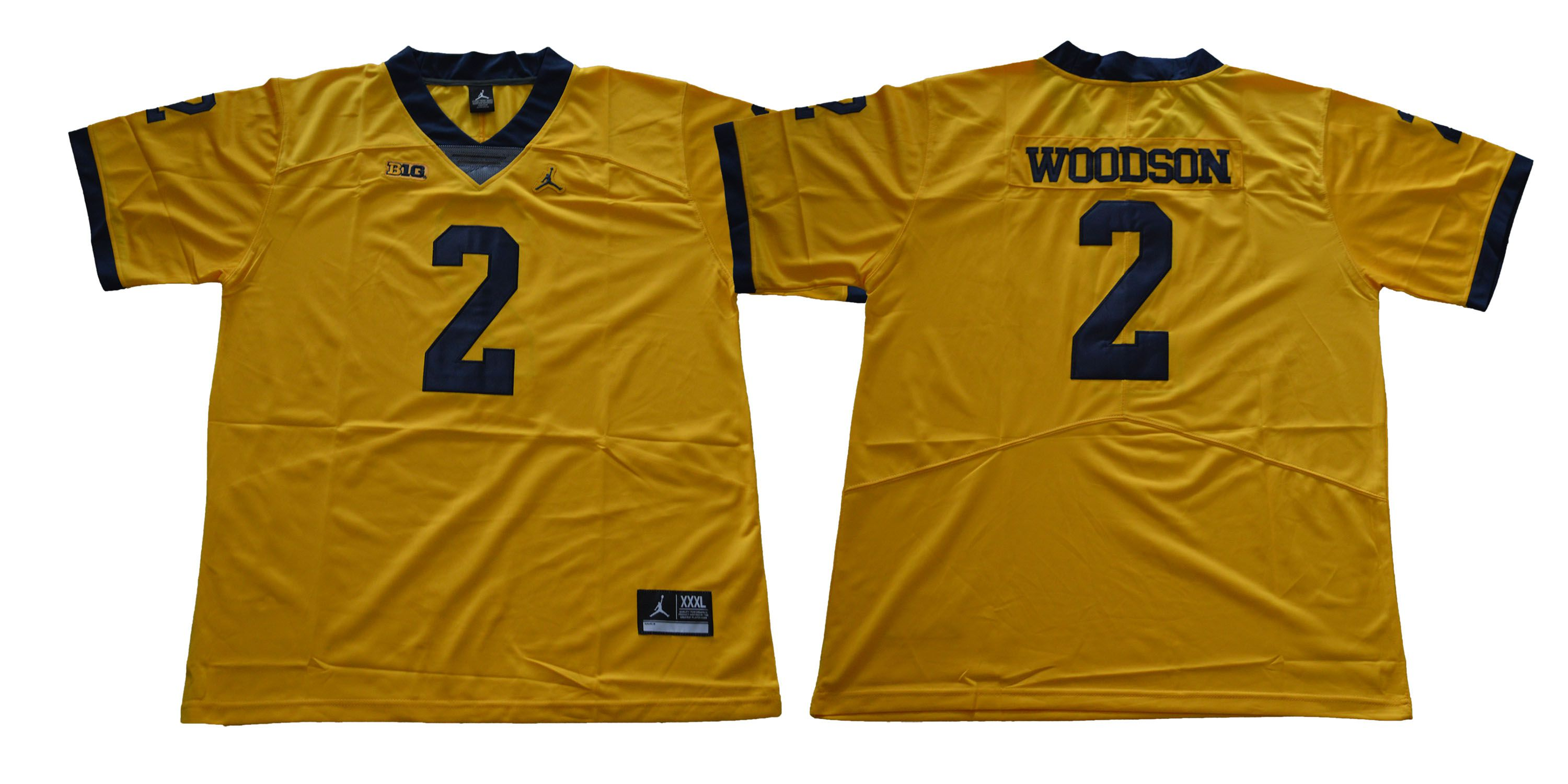 Men Michigan Wolverines 2 Woodson Yellow NCAA Jerseys