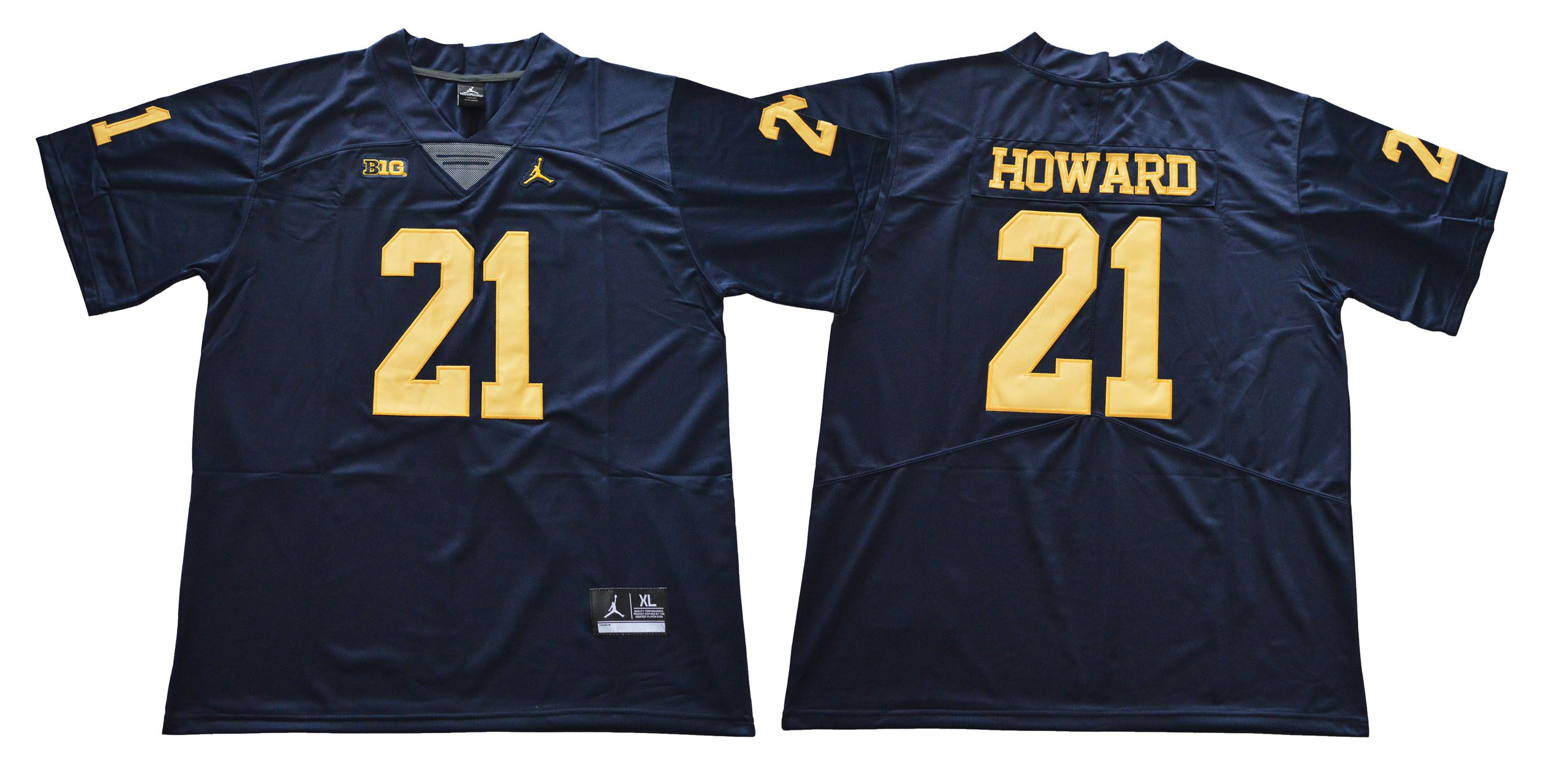 Men Michigan Wolverines 21 Howard Blue NCAA Jerseys
