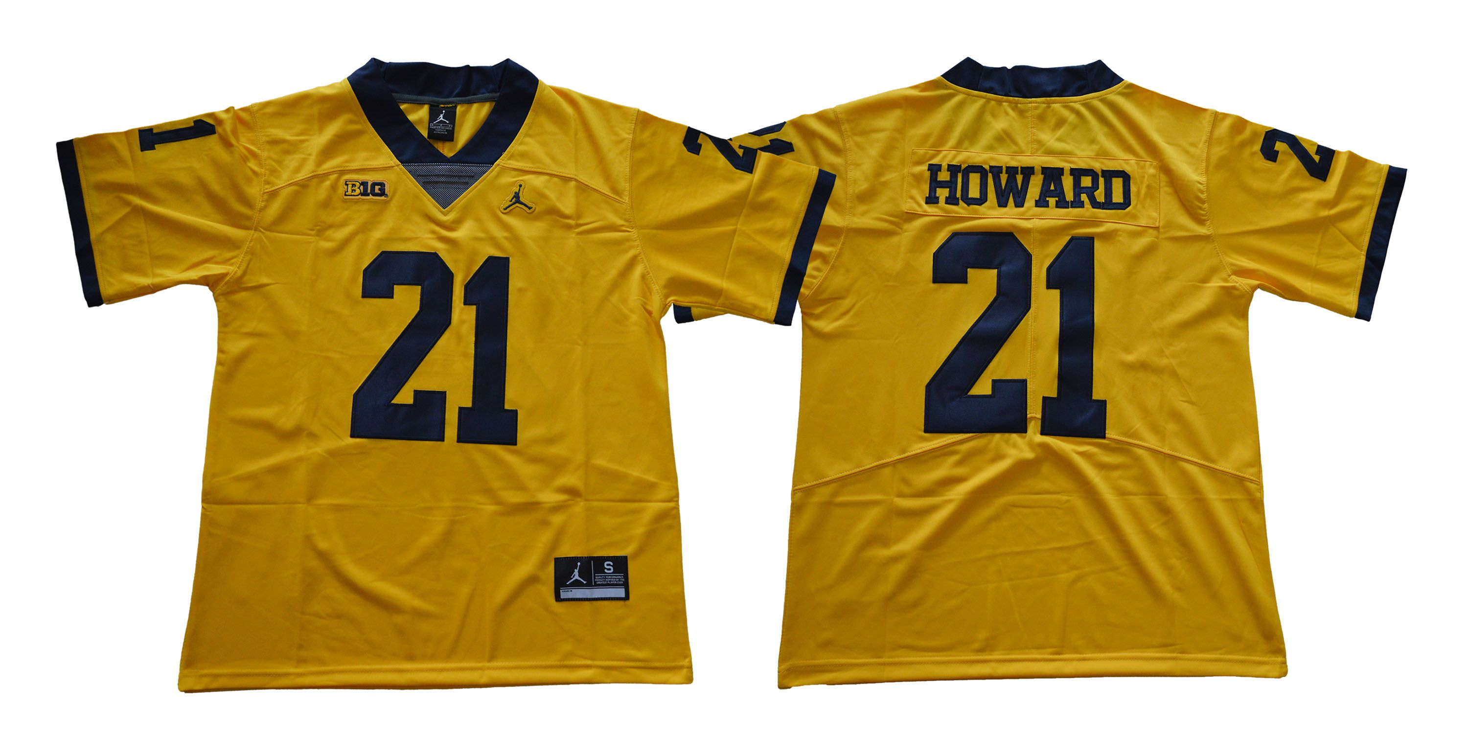 Men Michigan Wolverines 21 Howard Yellow NCAA Jerseys