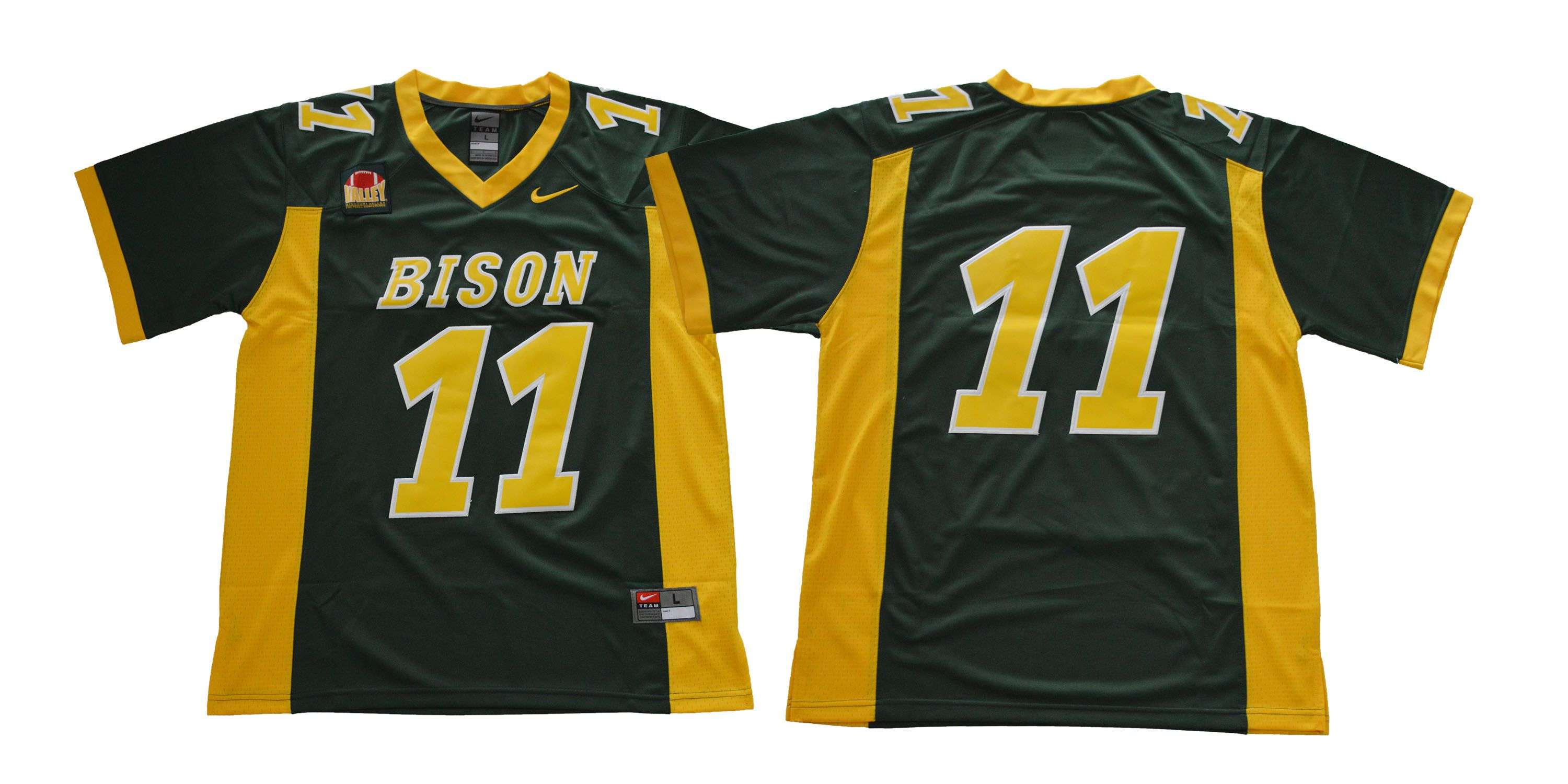 Men NDSU North Dakota State Bison 11 Wentz Green NCAA Jerseys