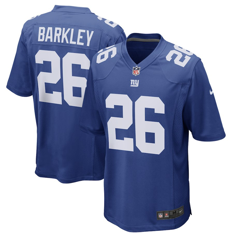 Men New York Giants 26 Saquon Barkley Nike Royal 2018 NFL Draft Game Jersey
