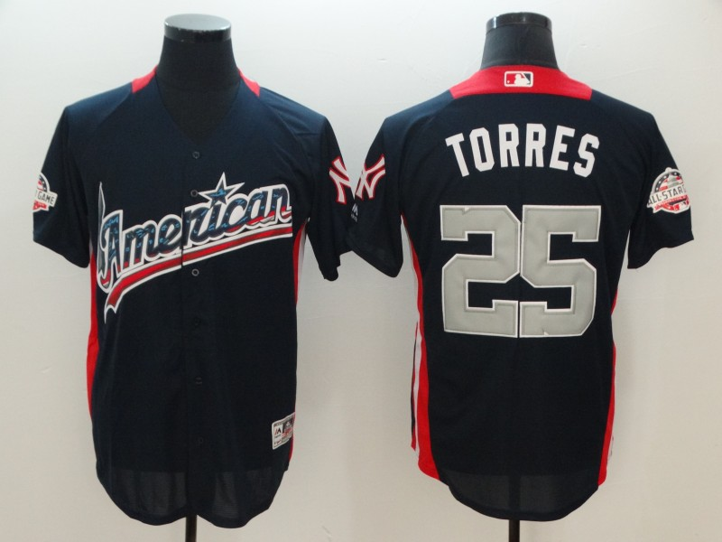 Men New York Yankees 25 Torres Blue Game All star MLB Jerseys