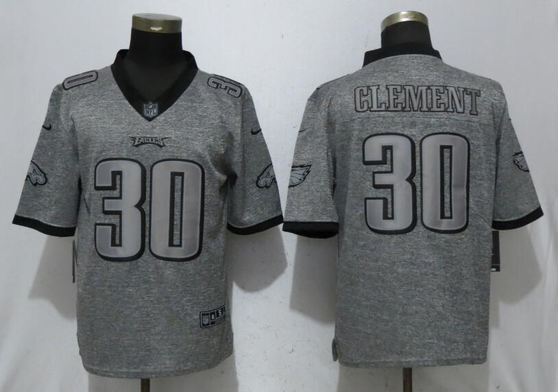 Men Philadelphia Eagles 30 Clement Gray Vapor Untouchable Stitched Gridiron Limited Nike NFL Jerseys