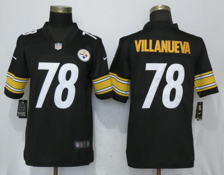 Men Pittsburgh Steelers 78 Villanueva Black Nike Vapor Untouchable Limited Player NFL Jerseys