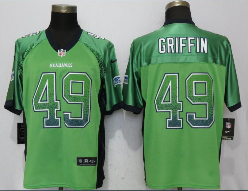 Men Seattle Seahawks 49 Griffin Drift Fashion Green Nike Elite NFL Jerseys