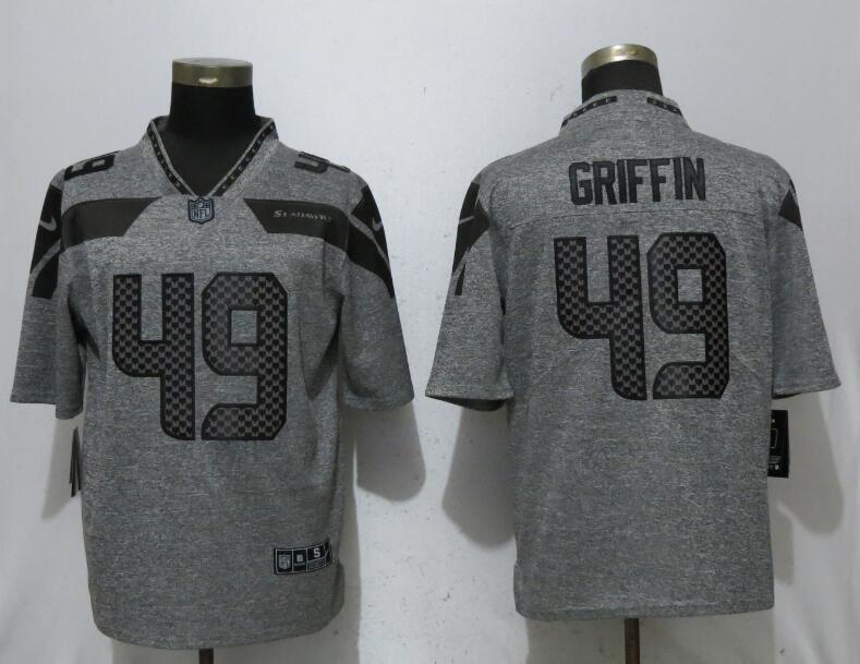Men Seattle Seahawks 49 Griffin Gray Vapor Untouchable Stitched Gridiron Limited Nike NFL Jerseys