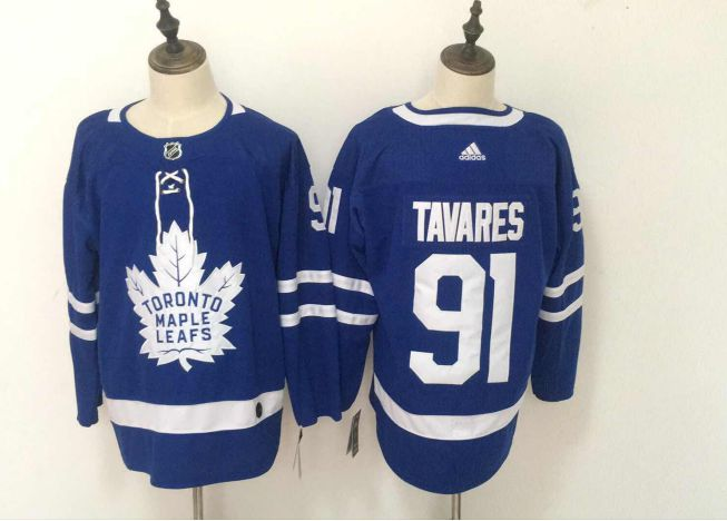 Men Toronto Maple Leafs 91 Tavares Blue Adidas Hockey Stitched NHL Jerseys
