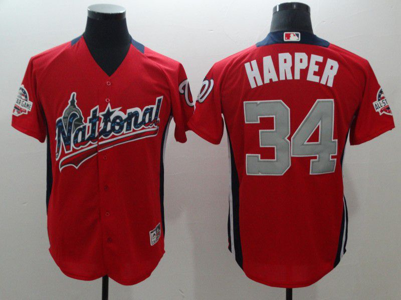 Men Washington Nationals 34 Harper Orange All star MLB Jerseys