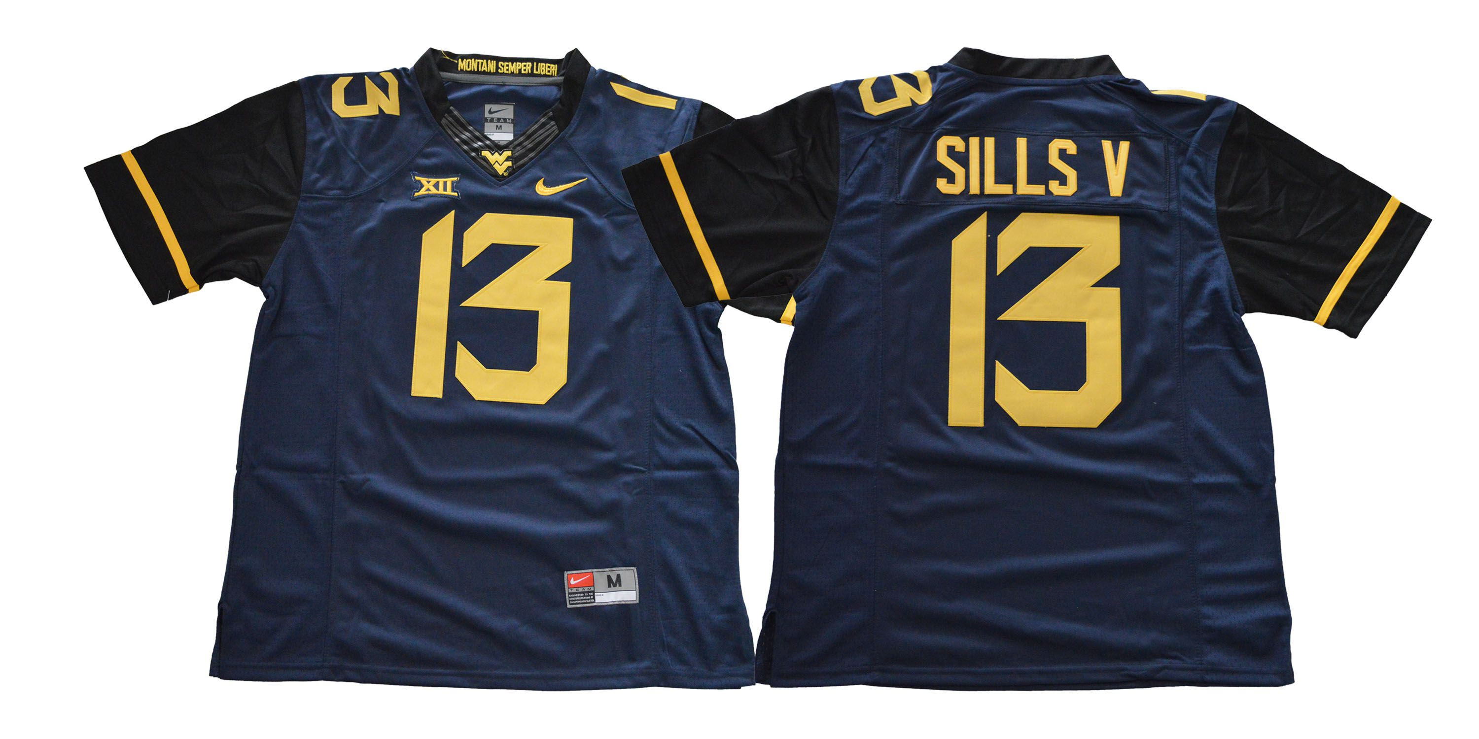 Men West Virginia Mountaineers 13 Sills v Blue NCAA Jerseys