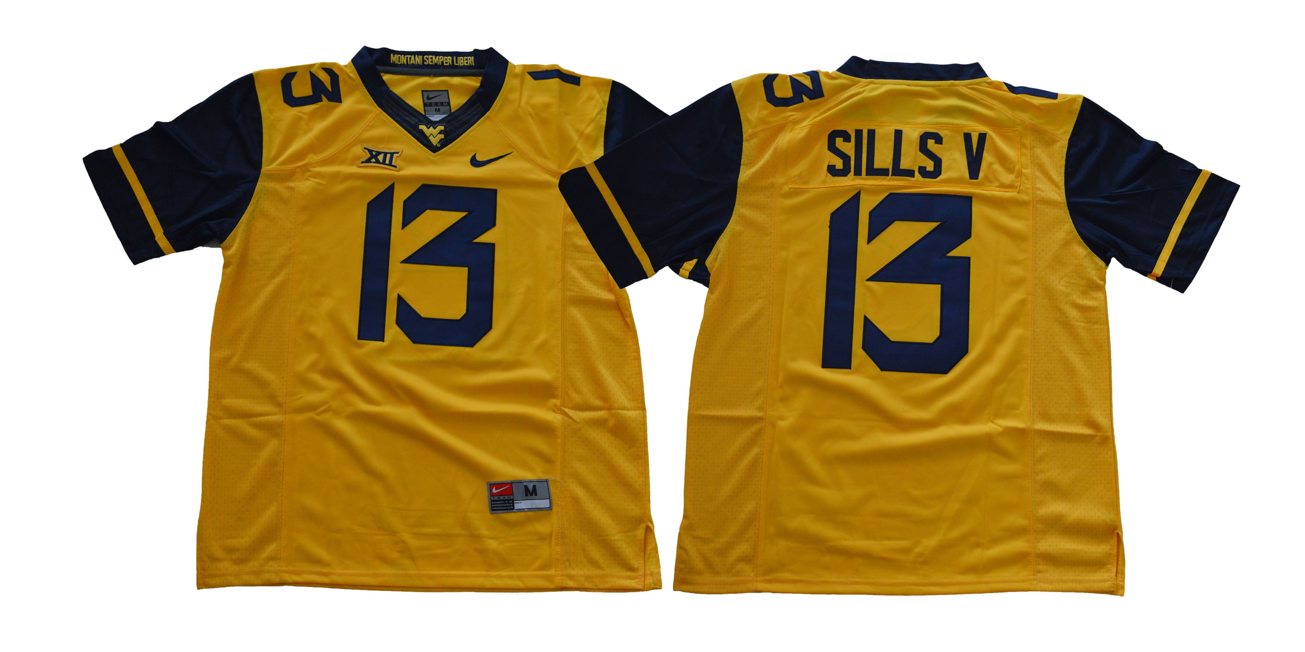 Men West Virginia Mountaineers 13 Sills v Yellow NCAA Jerseys