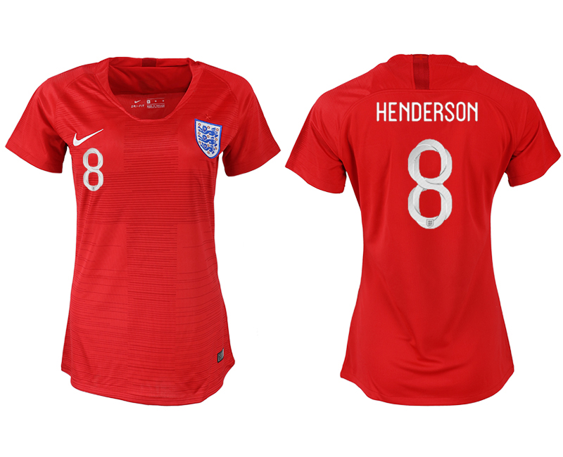 Women 2018 World Cup England away aaa version 8 red soccer jersey