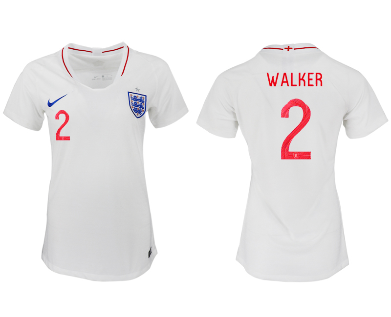 Women 2018 World Cup England home aaa version 2 white soccer jersey