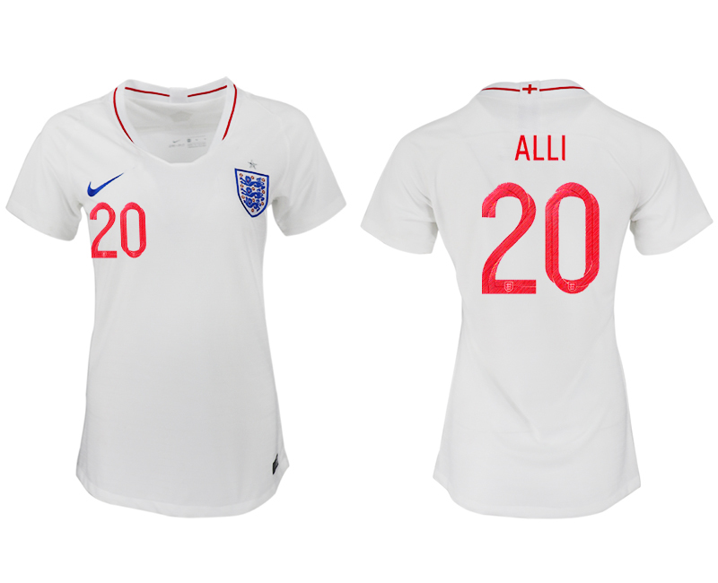 Women 2018 World Cup England home aaa version 20 white soccer jersey