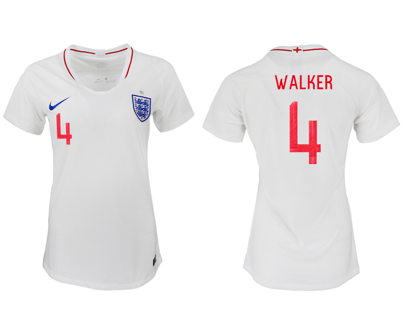 Women 2018 World Cup England home aaa version 4 white soccer jersey