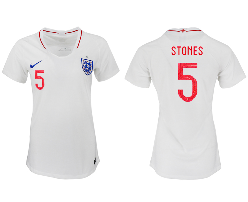 Women 2018 World Cup England home aaa version 5 white soccer jersey