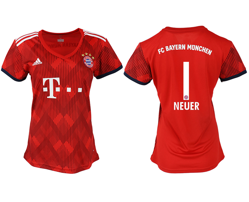 Women 2018-2019 club Bayern Munich home aaa version 1 red soccer jerseys
