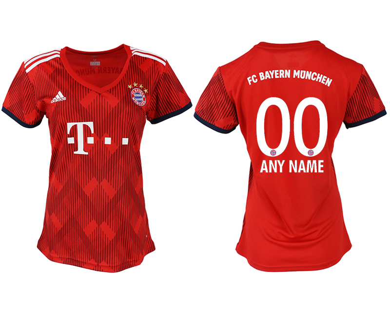 Women 2018-2019 club Bayern Munich home aaa version customized red soccer jerseys