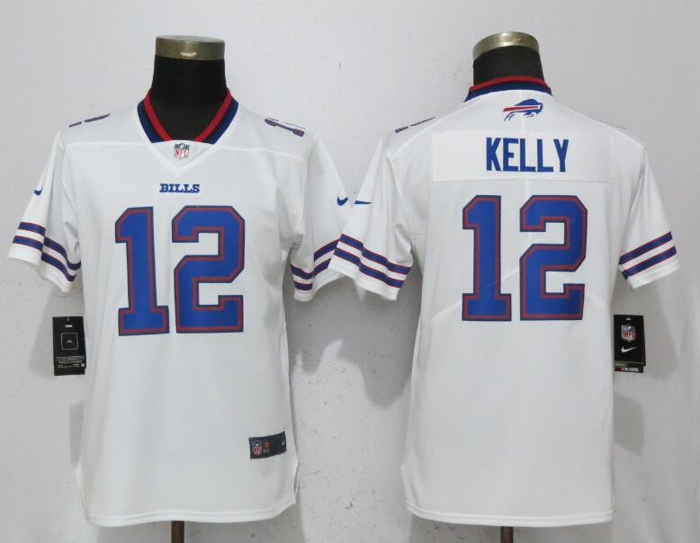 Women Buffalo Bills 12 Kelly White Nike Vapor Untouchable Limited Playe NFL Jerseys