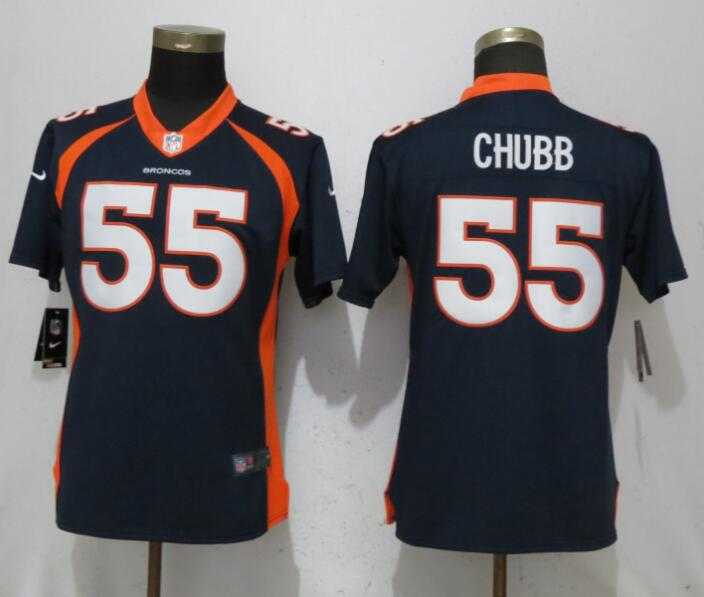 Women Denver Broncos 55 Chubb Blue Vapor Untouchable Elite Player Nike NFL Jerseys