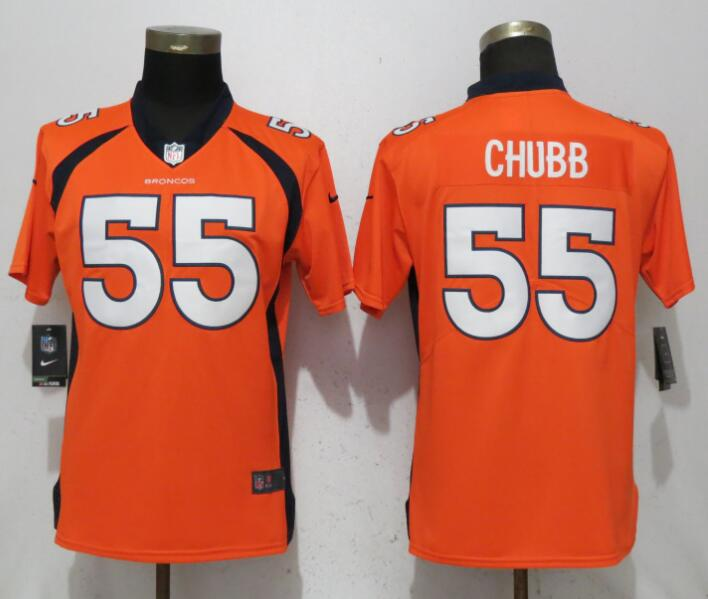 Women Denver Broncos 55 Chubb Orange Vapor Untouchable Elite Player Nike NFL Jerseys