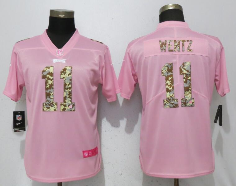Women NEW Nike Philadelphia Eagles 11 Wentz Pink Camouflage font love pink 2017 Vapor Untouchable Elite jerseys.