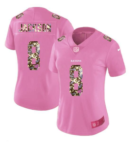 Women New Nike Baltimore Ravens 8 Jackson Pink Camouflage font love pink 2017 Vapor Untouchable Elite Player