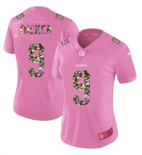 Women New Nike Baltimore Ravens 9 Tucker Pink Camouflage font love pink 2017 Vapor Untouchable Elite Player