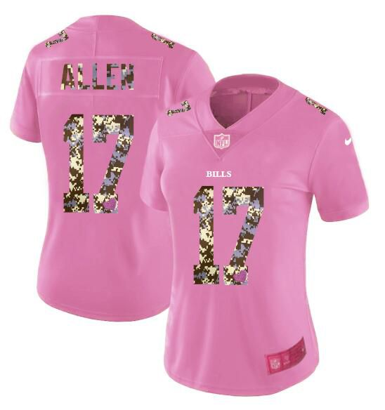 Women New Nike Buffalo Bills 17 Allen Pink Camouflage font love pink 2017 Vapor Untouchable Elite Player