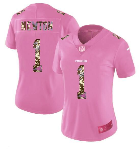 Women New Nike Carolina Panthers 1 Newton Pink Camouflage font love pink 2017 Vapor Untouchable Elite Player