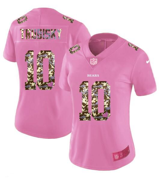 Women New Nike Chicago Bears 10 Trubisky Pink Camouflage font love pink 2017 Vapor Untouchable Elite Player