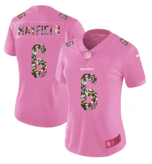 Women New Nike Cleveland Browns 6 Mayfield Pink Camouflage font love pink 2017 Vapor Untouchable Elite Player