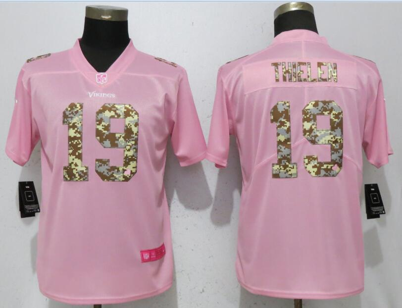 Women New Nike Minnesota Vikings 19 Thielen Pink Camouflage font love pink 2017 Vapor Untouchable Elite jerseys