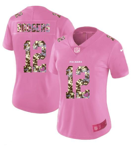 Women New Nike Green Bay Packers 12 Rodgers Pink Camouflage font love pink 2017 Vapor Untouchable Elite Player