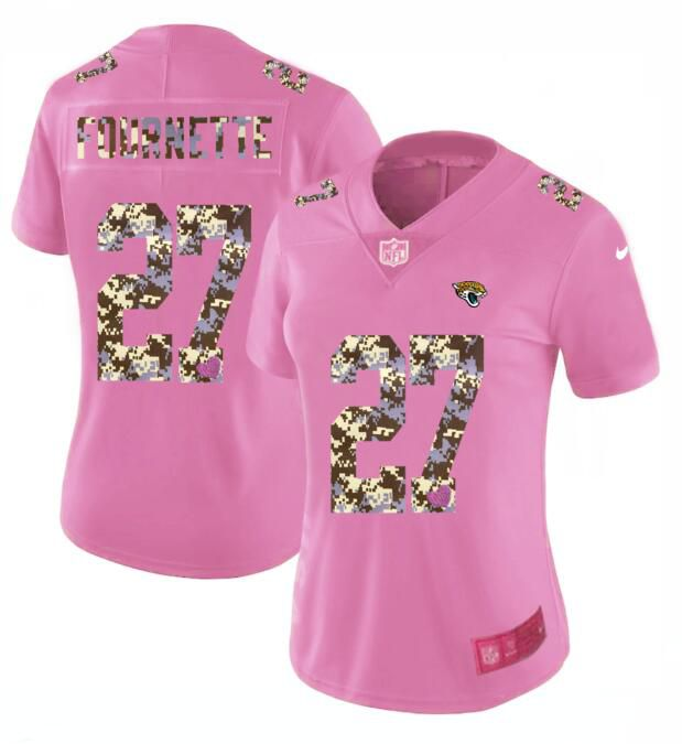 Women New Nike Jacksonville Jaguars 27 Fournette Pink Camouflage font love pink 2017 Vapor Untouchable Elite Player