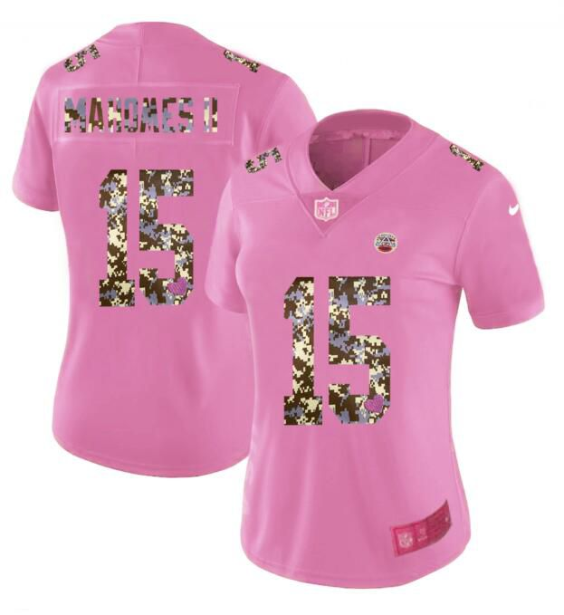 Women New Nike Kansas City Chiefs 15 Mahomes ll Pink Camouflage font love pink 2017 Vapor Untouchable Elite Player