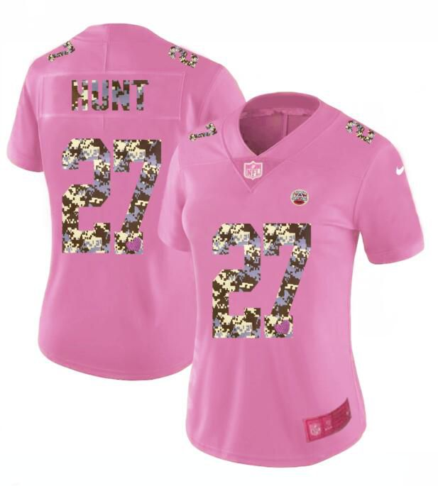 Women New Nike Kansas City Chiefs 27 Hunt Pink Camouflage font love pink 2017 Vapor Untouchable Elite Player