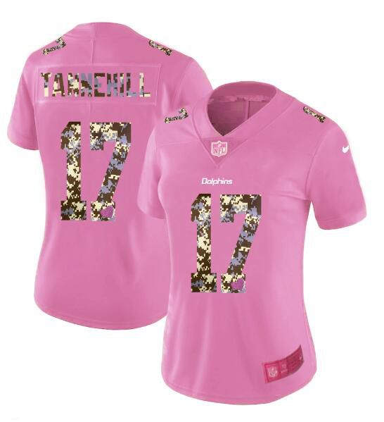 Women New Nike Miami Dolphins 17 Tannehill Pink Camouflage font love pink 2017 Vapor Untouchable Elite Player