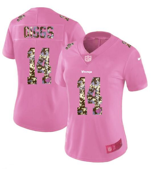 Women New Nike Minnesota Vikings 14 Dlggs Pink Camouflage font love pink 2017 Vapor Untouchable Elite Player