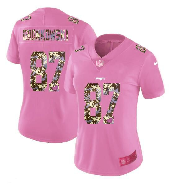 Women New Nike New England Patriots 87 Gronkowski Pink Camouflage font love pink 2017 Vapor Untouchable Elite Player