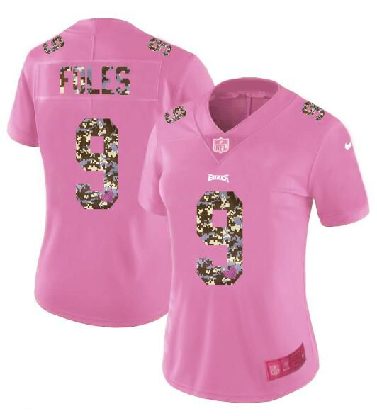 Women New Nike Philadelphia Eagles 9 Foles Pink Camouflage font love pink 2017 Vapor Untouchable Elite Player