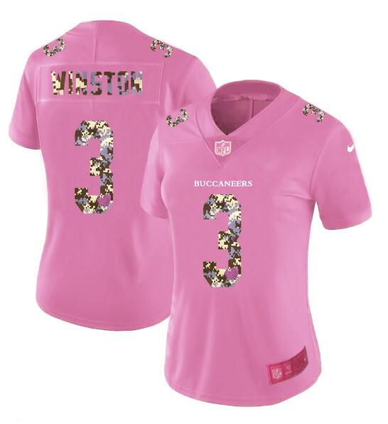 Women New Nike Tampa Bay Buccaneers 3 Winston Pink Camouflage font love pink 2017 Vapor Untouchable Elite Player