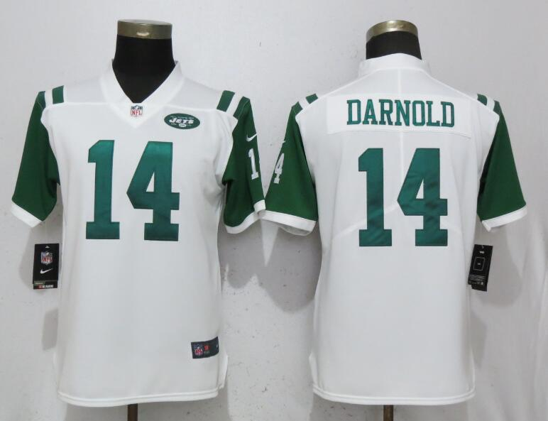 Women New York Jets 14 Darnold White Nike Vapor Untouchable Limited Playe NFL Jerseys