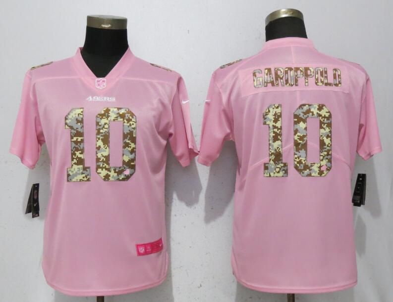 Women San Francisco 49ers 10 Garoppolo Pink Camouflage font love pink Nike Vapor Untouchable Player NFL Jerseys