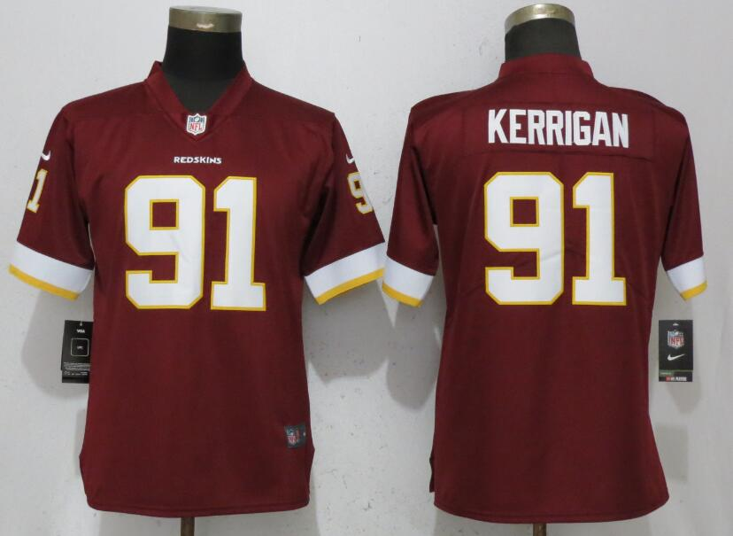 Women Washington Red Skins 91 Kerrigan Red Nike Vapor Untouchable Limited Playe NFL Jerseys