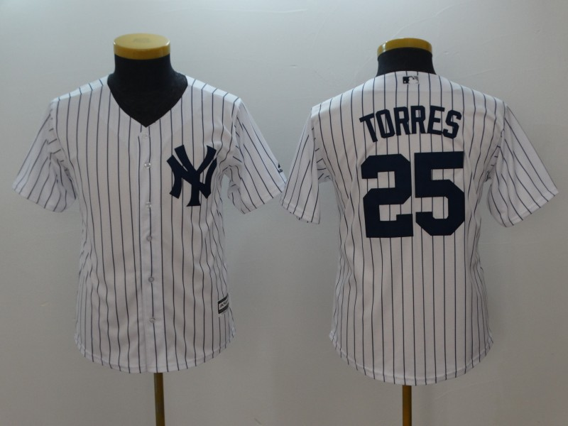 Youth 2018 New York Yankees 25 Torres white jerseys
