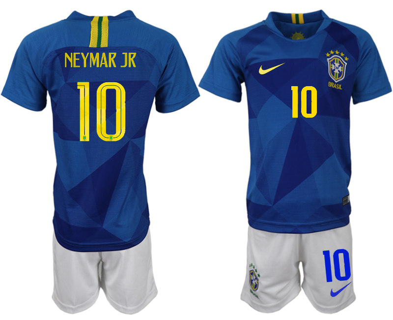 Youth 2018 World Cup Brazil away 10 blue soccer jerseys