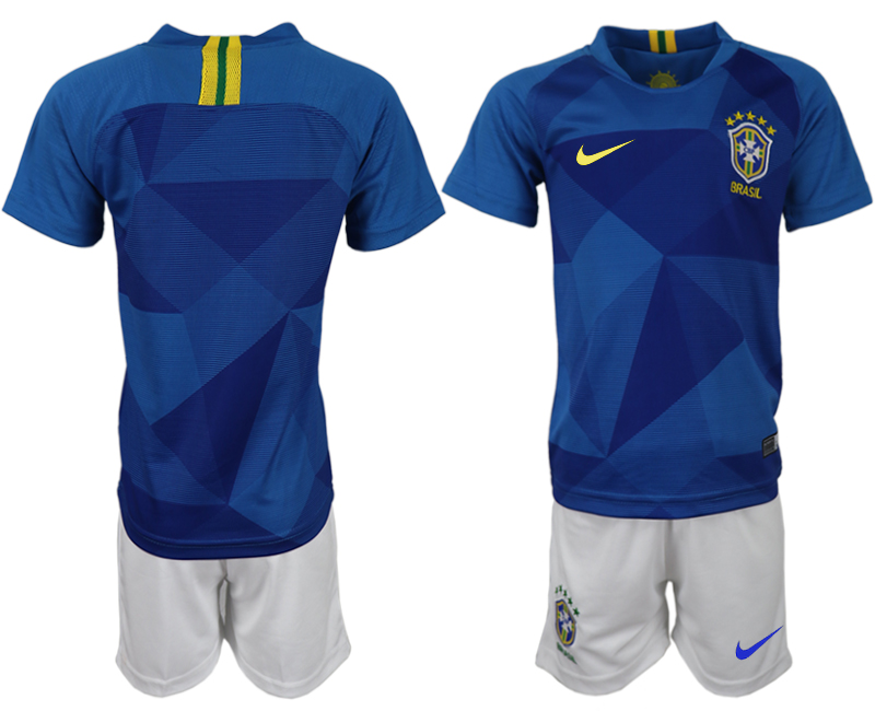 Youth 2018 World Cup Brazil away blue soccer jerseys