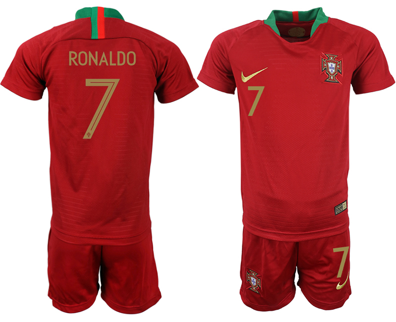 Youth 2018 World Cup Portugal home 7 red soccer jerseys