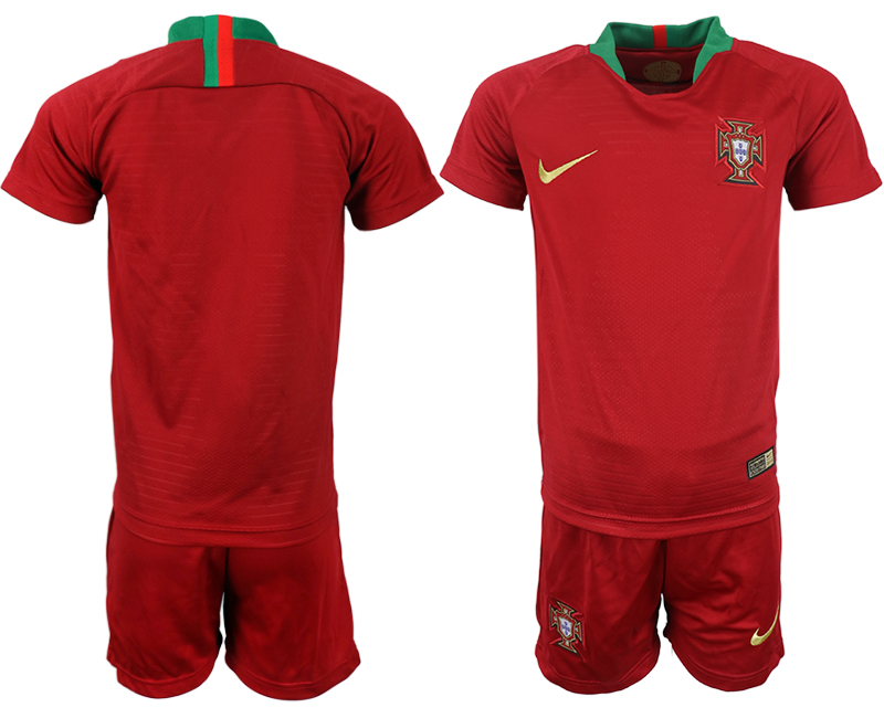 Youth 2018 World Cup Portugal home blank red soccer jerseys