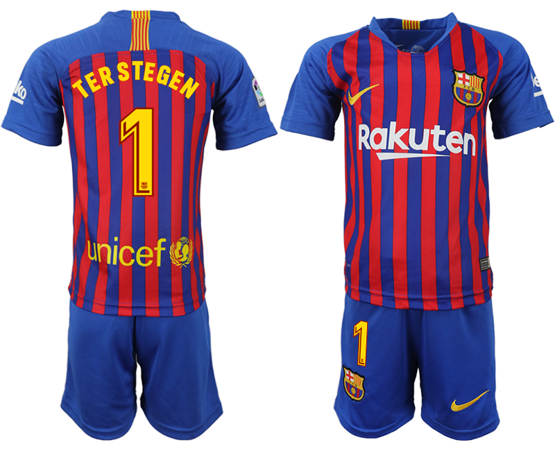 Youth 2018-2019 club Barcelona home 1 blue soccer jersey